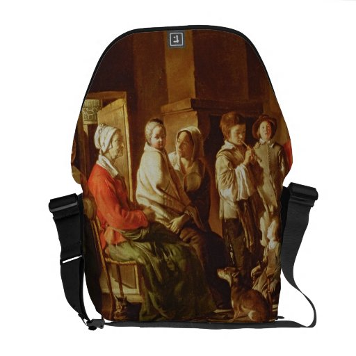 The Visit to the Grandmother (oil on canvas) Courier Bags