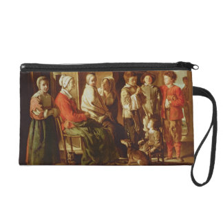 The Visit to the Grandmother (oil on canvas) Wristlet Purse