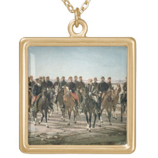 The Visit to the River Negro by General Julio Arge Square Pendant Necklace