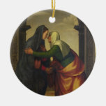 The Visitation of St. Elizabeth to the Virgin Mary Double-Sided Ceramic Round Christmas Ornament