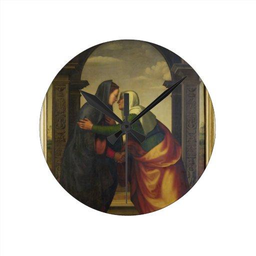 The Visitation of St. Elizabeth to the Virgin Mary Round Wallclocks