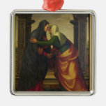 The Visitation of St. Elizabeth to the Virgin Mary Square Metal Christmas Ornament