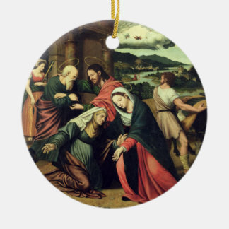 The Visitation (oil on panel) 2 Ceramic Ornament