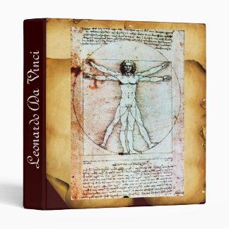 THE VITRUVIAN MAN , Antique Brown Parchment 3 Ring Binder