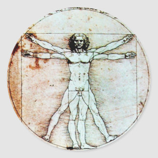THE VITRUVIAN MAN , Antique Brown Parchment Classic Round Sticker