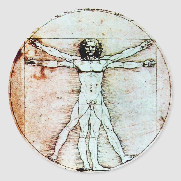 THE VITRUVIAN MAN , Antique Brown Parchment Classic Round Sticker