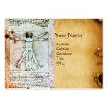 THE VITRUVIAN MAN , Antique Brown Parchment Large Business Card