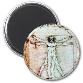 THE VITRUVIAN MAN , Antique Brown Parchment Magnet