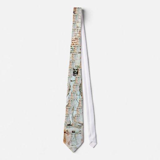 THE VITRUVIAN MAN , Antique Brown Parchment Neck Tie
