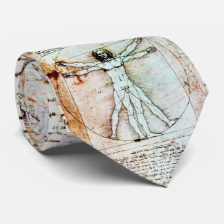 THE VITRUVIAN MAN , Antique Brown Parchment Neck Tie
