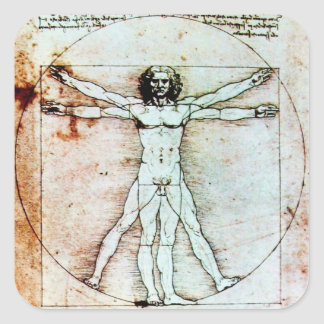 THE VITRUVIAN MAN , Antique Brown Parchment Square Sticker
