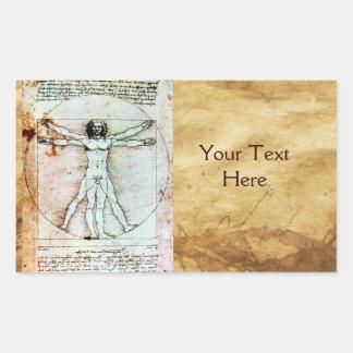 THE VITRUVIAN MAN , Antique Brown Parchment Rectangle Stickers