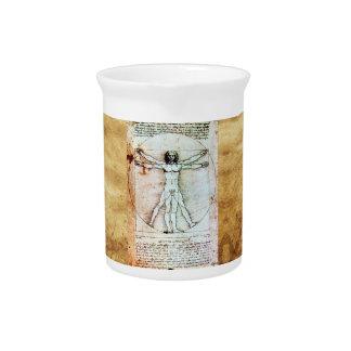 THE VITRUVIAN MAN Antique Parchment Beverage Pitcher