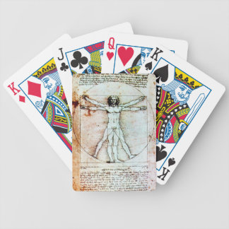 THE VITRUVIAN MAN Antique Parchment Bicycle Playing Cards