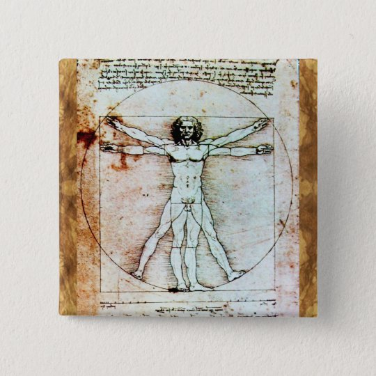 THE VITRUVIAN MAN  Antique  Parchment Button