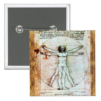 THE VITRUVIAN MAN  Antique  Parchment Button