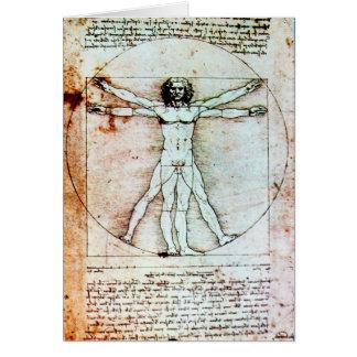THE VITRUVIAN MAN  Antique Parchment Greeting Cards