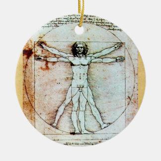 THE VITRUVIAN MAN Antique Parchment Ceramic Ornament