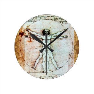 THE VITRUVIAN MAN Antique Parchment Round Clock