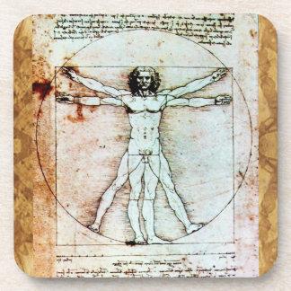 THE VITRUVIAN MAN Antique Parchment Coaster