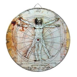 THE VITRUVIAN MAN Antique Parchment Dartboard