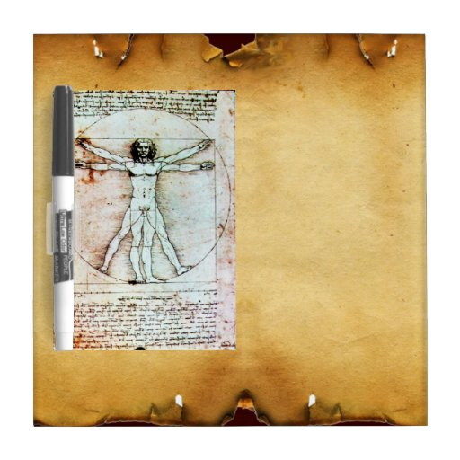 THE VITRUVIAN MAN Antique Parchment Dry-Erase Board