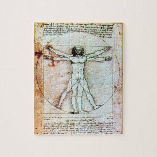 THE VITRUVIAN MAN Antique Parchment Jigsaw Puzzle