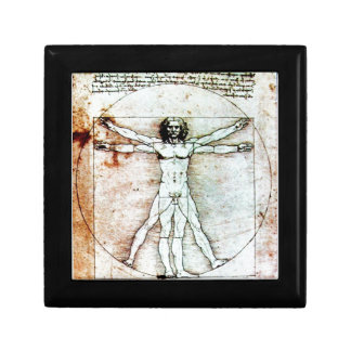THE VITRUVIAN MAN Antique Parchment Keepsake Box