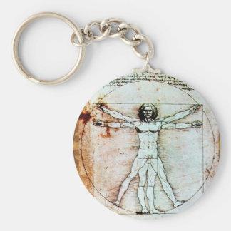 THE VITRUVIAN MAN  Antique  Parchment Key Chains
