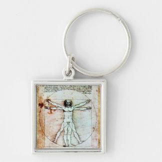 THE VITRUVIAN MAN  Antique  Parchment Key Chain
