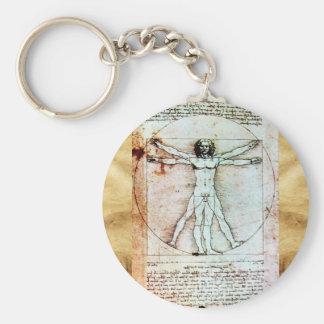 THE VITRUVIAN MAN Antique Parchment Keychains