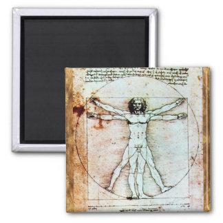 THE VITRUVIAN MAN  Antique  Parchment Fridge Magnet