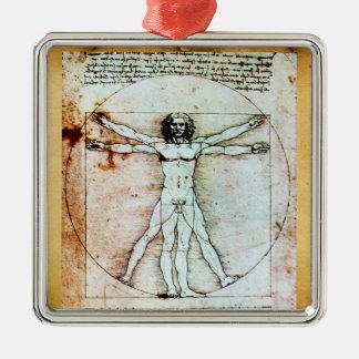 THE VITRUVIAN MAN Antique Parchment Metal Ornament