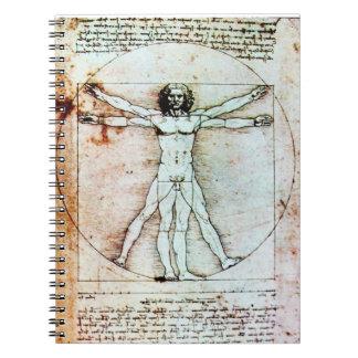 THE VITRUVIAN MAN Antique Parchment Spiral Note Books