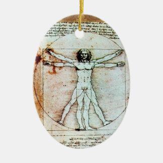 THE VITRUVIAN MAN Antique Parchment Christmas Ornaments