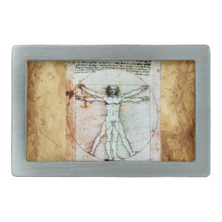 THE VITRUVIAN MAN Antique Parchment Rectangular Belt Buckle