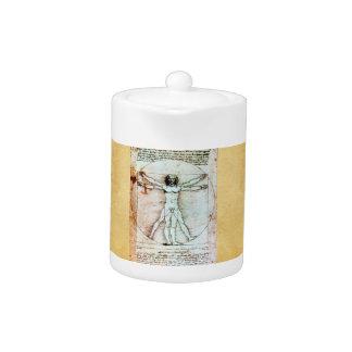 THE VITRUVIAN MAN Antique Parchment Teapot