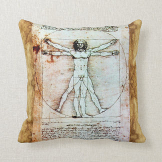 THE VITRUVIAN MAN Antique Parchment Throw Pillow