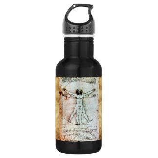 THE VITRUVIAN MAN Antique Parchment Water Bottle