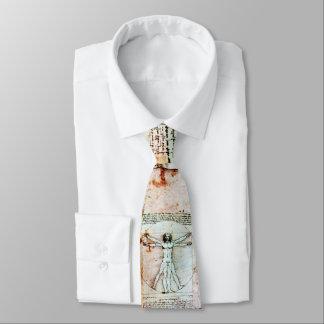 THE VITRUVIAN MAN , Antique White Brown Parchment Neck Tie