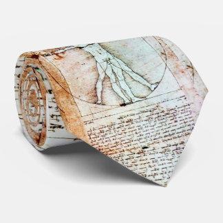 THE VITRUVIAN MAN , Antique White Brown Parchment Tie