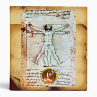 THE VITRUVIAN MAN Monogram ,Parchment Gem stone Binder