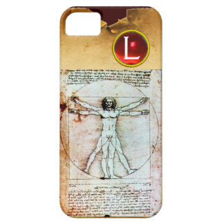 THE VITRUVIAN MAN  Parchment Red Ruby Monogram iPhone 5 Cover