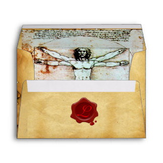 THE VITRUVIAN MAN RED WAX SEAL MONOGRAM ,PARCHMENT ENVELOPE