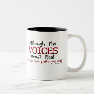 The Voices Aren't Real Funny Saying Two-Tone Coffee Mug