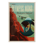 THE VOLCANO OF MARS - Olympus Mons | Space | Retro Poster