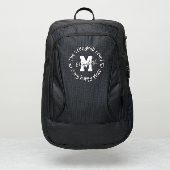 The volleyball court is my happy place custom port authority® backpack