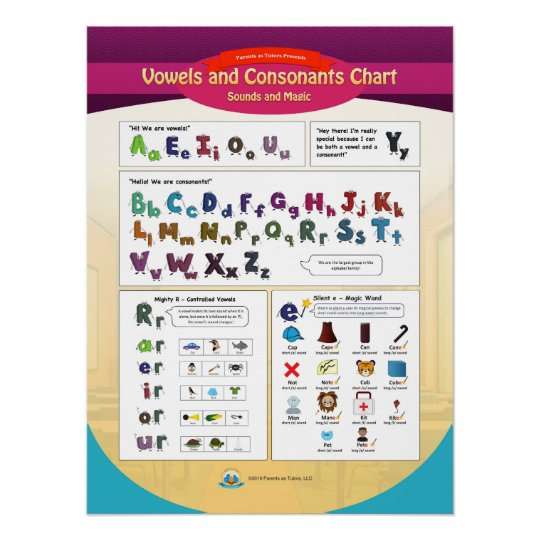 The Vowels And Consonants Chart Zazzle Com