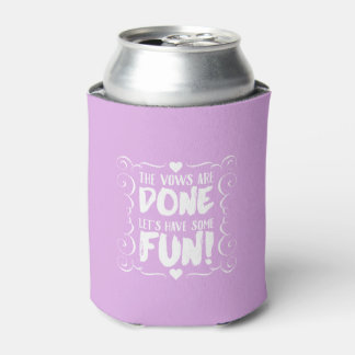 The Vows are Done Purple Wedding Koozie Favors Can Cooler