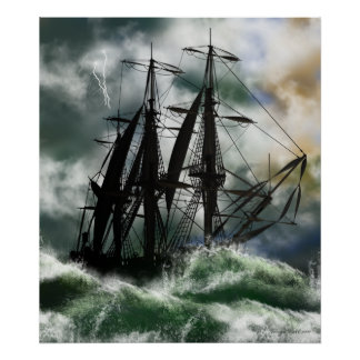 The Voyage - Columbus Sailing The Ocean Poster